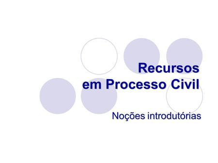 Recursos em Processo Civil Noções introdutórias. Meios de impugnação Recurso como meio de impugnação. Recurso como meio de impugnação. Quais são os meios.