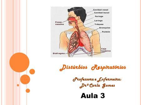 Distúrbios Respiratórios Professora e Enfermeira: Drª Carla Gomes Aula 3.