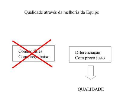 Commodities Com preço baixo Diferenciação Com preço justo QUALIDADE Qualidade através da melhoria da Equipe.
