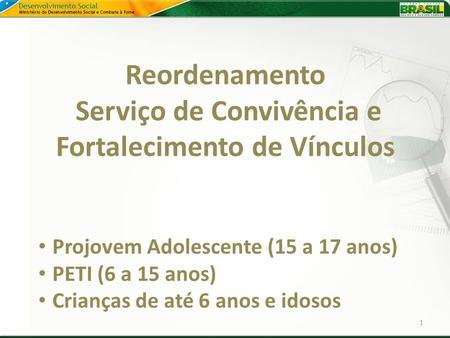 Reordenamento Serviço de Convivência e Fortalecimento de Vínculos 1 Projovem Adolescente (15 a 17 anos) PETI (6 a 15 anos) Crianças de até 6 anos e idosos.