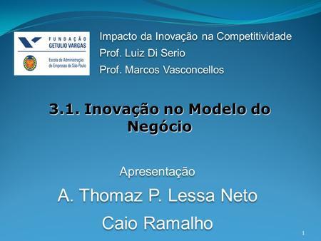 1 3.1. Inovação no Modelo do Negócio Impacto da Inovação na Competitividade Prof. Luiz Di Serio Prof. Marcos Vasconcellos Impacto da Inovação na Competitividade.