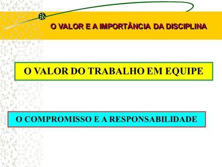 O VALOR DO TRABALHO EM EQUIPE O VALOR E A IMPORTÂNCIA DA DISCIPLINA O COMPROMISSO E A RESPONSABILIDADE.