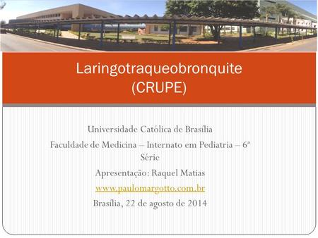 Universidade Católica de Brasília Faculdade de Medicina – Internato em Pediatria – 6ª Série Apresentação: Raquel Matias www.paulomargotto.com.br Brasília,