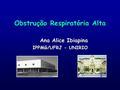 Obstrução Respiratória Alta Ana Alice Ibiapina IPPMG/UFRJ - UNIRIO.