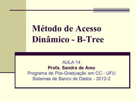 Método de Acesso Dinâmico - B-Tree AULA 14 Profa. Sandra de Amo Programa de Pós-Graduação em CC - UFU Sistemas de Banco de Dados - 2012-2.
