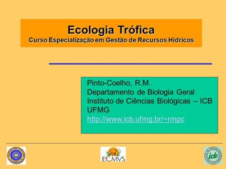 Ecologia Trófica Curso Especialização em Gestão de Recursos Hídricos Pinto-Coelho, R.M. Departamento de Biologia Geral Instituto de Ciências Biológicas.