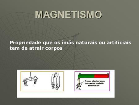 MAGNETISMO Propriedade que os ímãs naturais ou artificiais tem de atrair corpos.