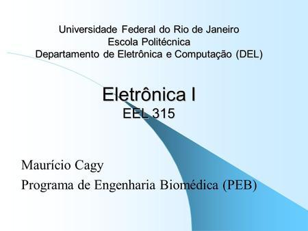 Maurício Cagy Programa de Engenharia Biomédica (PEB)