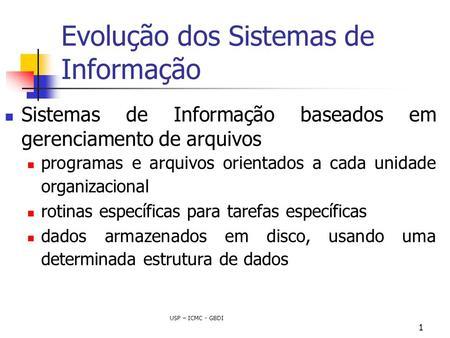 USP – ICMC - GBDI 1 Evolução dos Sistemas de Informação Sistemas de Informação baseados em gerenciamento de arquivos programas e arquivos orientados a.