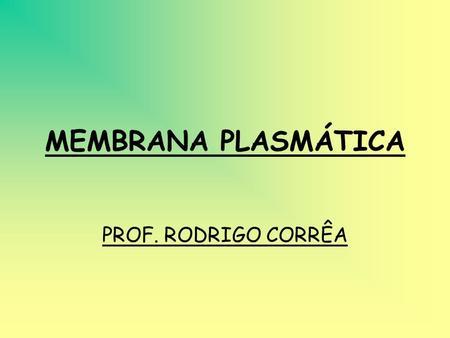 MEMBRANA PLASMÁTICA PROF. RODRIGO CORRÊA.