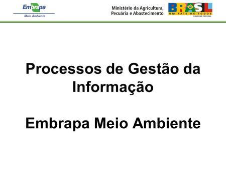 Processos de Gestão da Informação Embrapa Meio Ambiente.