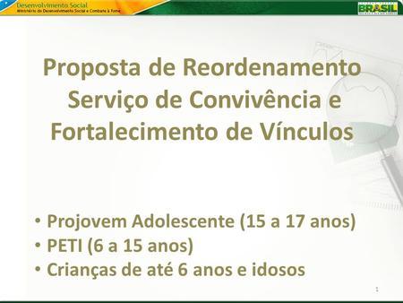 Proposta de Reordenamento Serviço de Convivência e Fortalecimento de Vínculos 1 Projovem Adolescente (15 a 17 anos) PETI (6 a 15 anos) Crianças de até